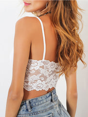 Floral Lace Panel Crop Cami Top