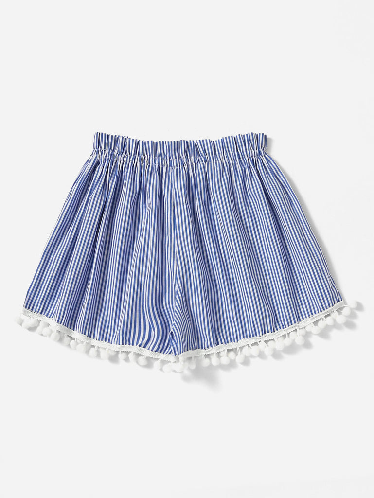 Vertical Striped Drawstring Waist Pompom Hem