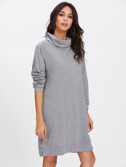 High Neck Sweatshirt Dress