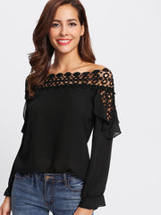 Hollow Out Crochet Insert Frill Top
