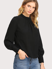 Puff Sleeve Pleated Detail Blouse