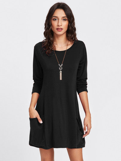 Double Pockets Shift Dress
