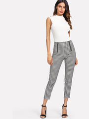 Zip Front Gingham Pants