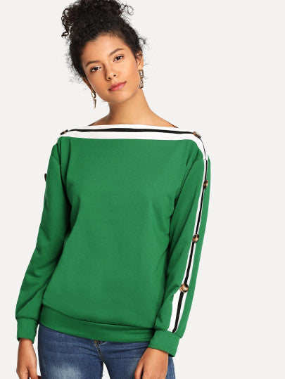 Striped Button Detail Sweatshirt