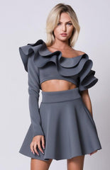 One Shoulder Ruffle Flared Skirts Set