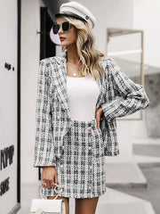 Tweed plaid two-pieces women skirt