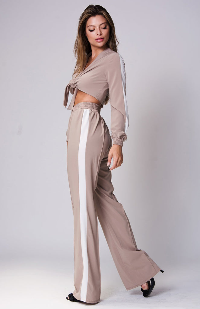 Self Tie Color Blocked Two Piece Set