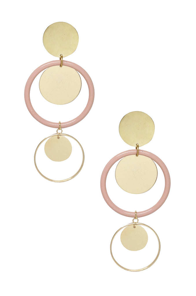 Petunia Earrings in Light Pink and Gold