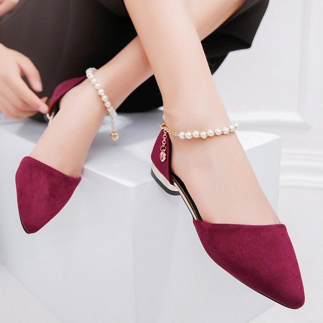 Fashion Women Flats Beaded Sandals Ankle