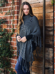 Charcoal Knit Tassel Poncho with Buttons