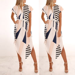 Women Casual Short Sleeve V Neck Printed Maxi Dress With Belt