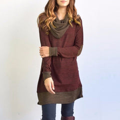 Long Sleeve Patchwork Pullover Elbow Patches Cowl Neck