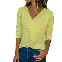 Front V Neck Long Sleeve Loose Fit