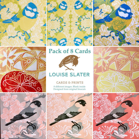 Pack of 8 Springtime Cards by Louise Slater