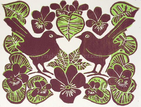 blackbird and violets lino print louise slater