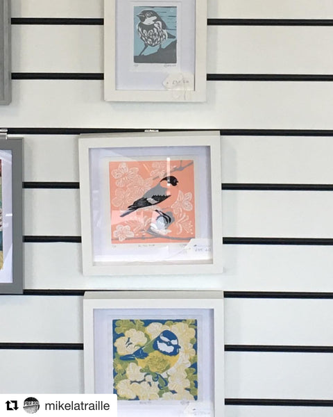 Linocut Prints by Louise Slater, Pier Road Coffee & Art