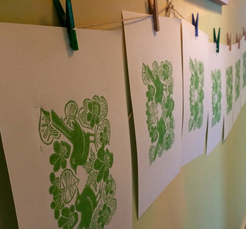 lino prints drying
