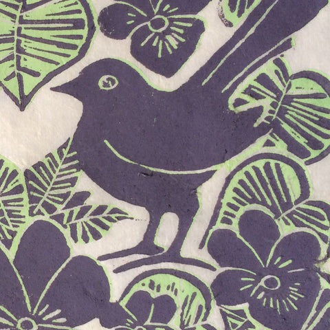 two colour lino print bird