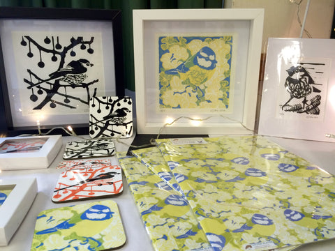 Louise Slater bird lino prints, coasters and gift wrap