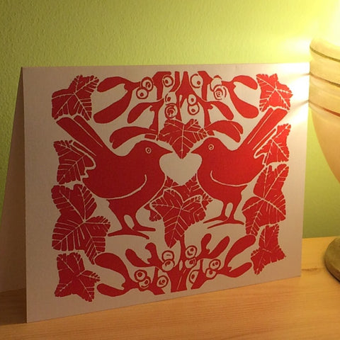 Red mistletoe & ivy Christmas card
