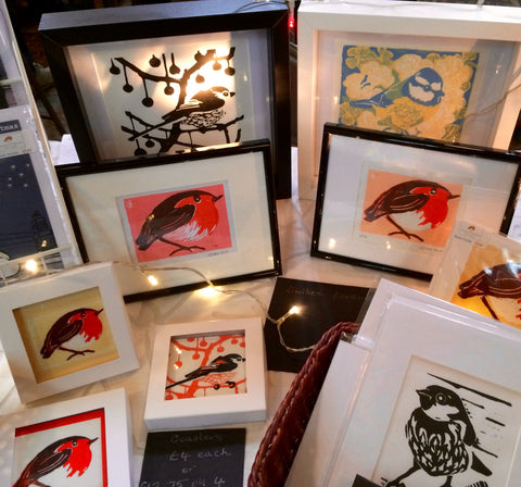 Louise Slater Cards and lino prints Winter Market