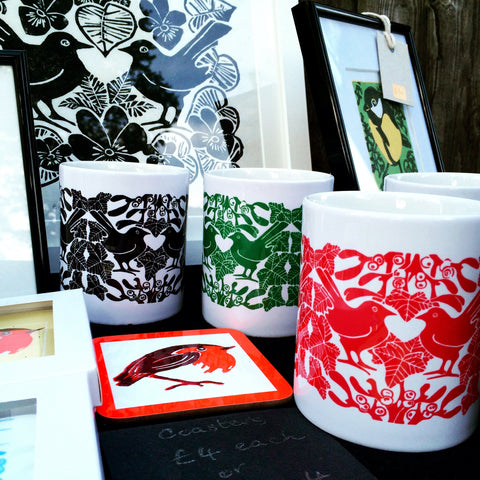Louise Slater lino prints and mugs at Thames Ditton Farmers Market