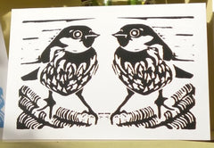 Sparrow Pair Card Louise Slater