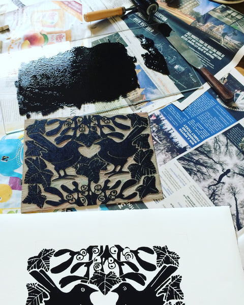 Blackbirds & mistletoe lino printing in progress