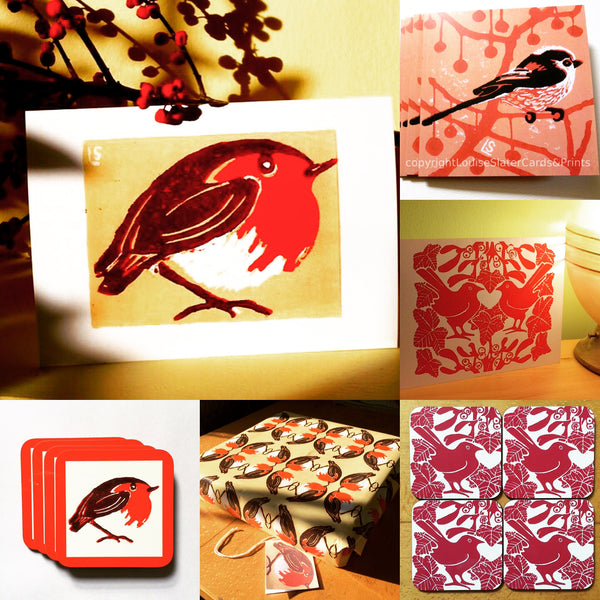 Christmas cards, gift warp and coasters from Louise Slater Cards & Prints