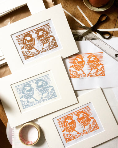 Sparrow linocut prints by Louise Slater