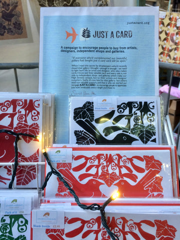 Just A Card sign at Louise Slater's stall at the Illustrators' Christmas Fair