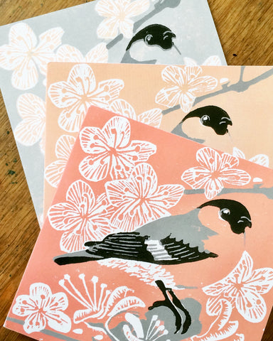 Bullfinch cards by Louise Slater