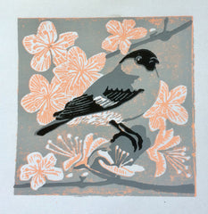 Female Bullfinch Linocut Print by Louise Slater