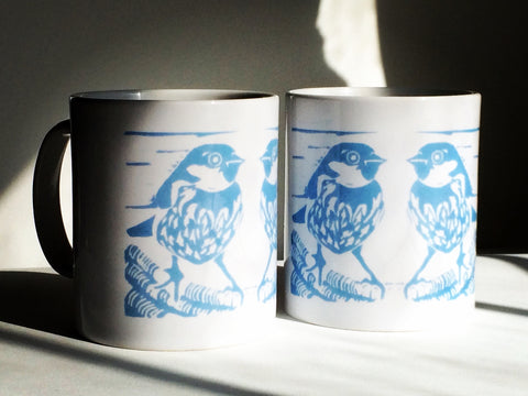 Blue Sparrows Ceramic Mug