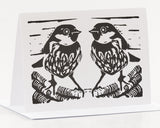 B & W Sparrow Card by Louise Slater