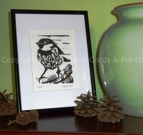 Single Sparrow Lino Print