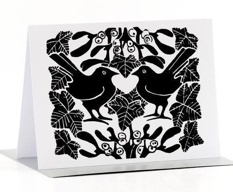 Black & White Mistletoe Christmas Cards Pk of 4