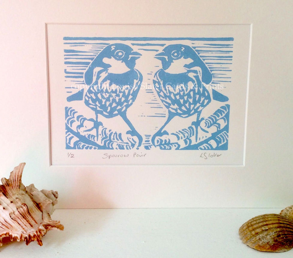 Blue Sparrows linocut print by Louise Slater