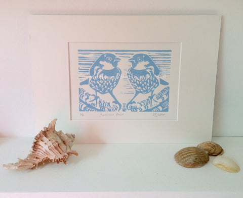 New! Blue Sparrow Pair Linocut Print