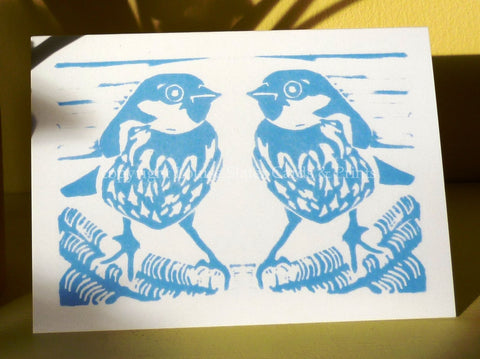 Blue Sparrow Pair Greeting Card