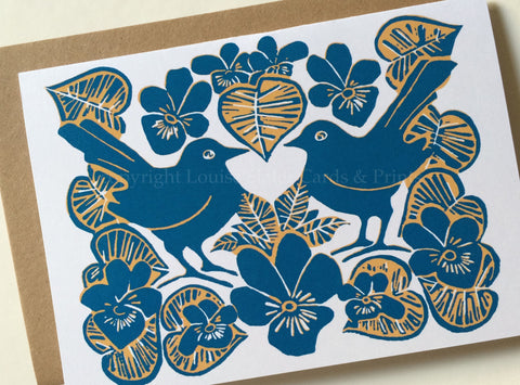 Love Birds & Violets Card - Blue & Orange