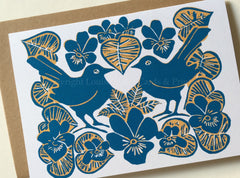 Birds and violets valentine card