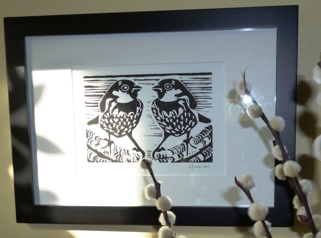 Sparrow Pair black and white lino print