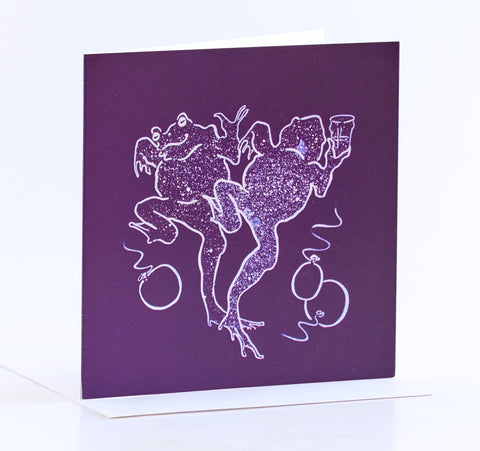 Purple Dancing Frogs Greeting Card