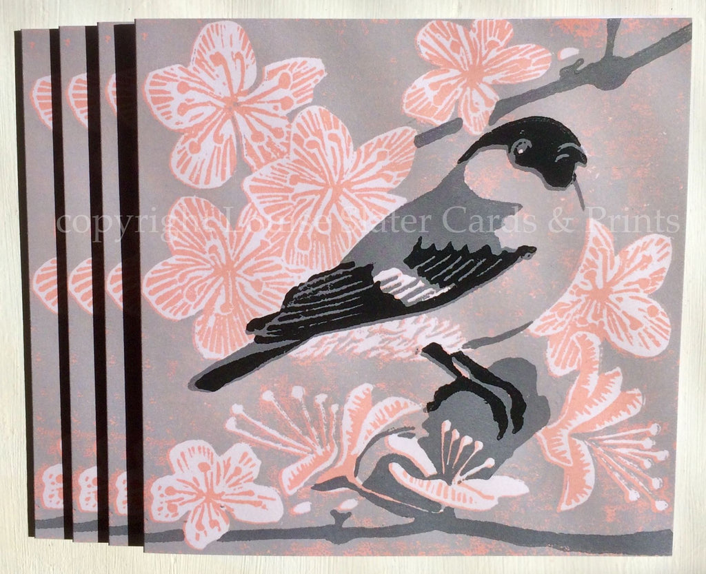 Grey Bullfinch card with blossom