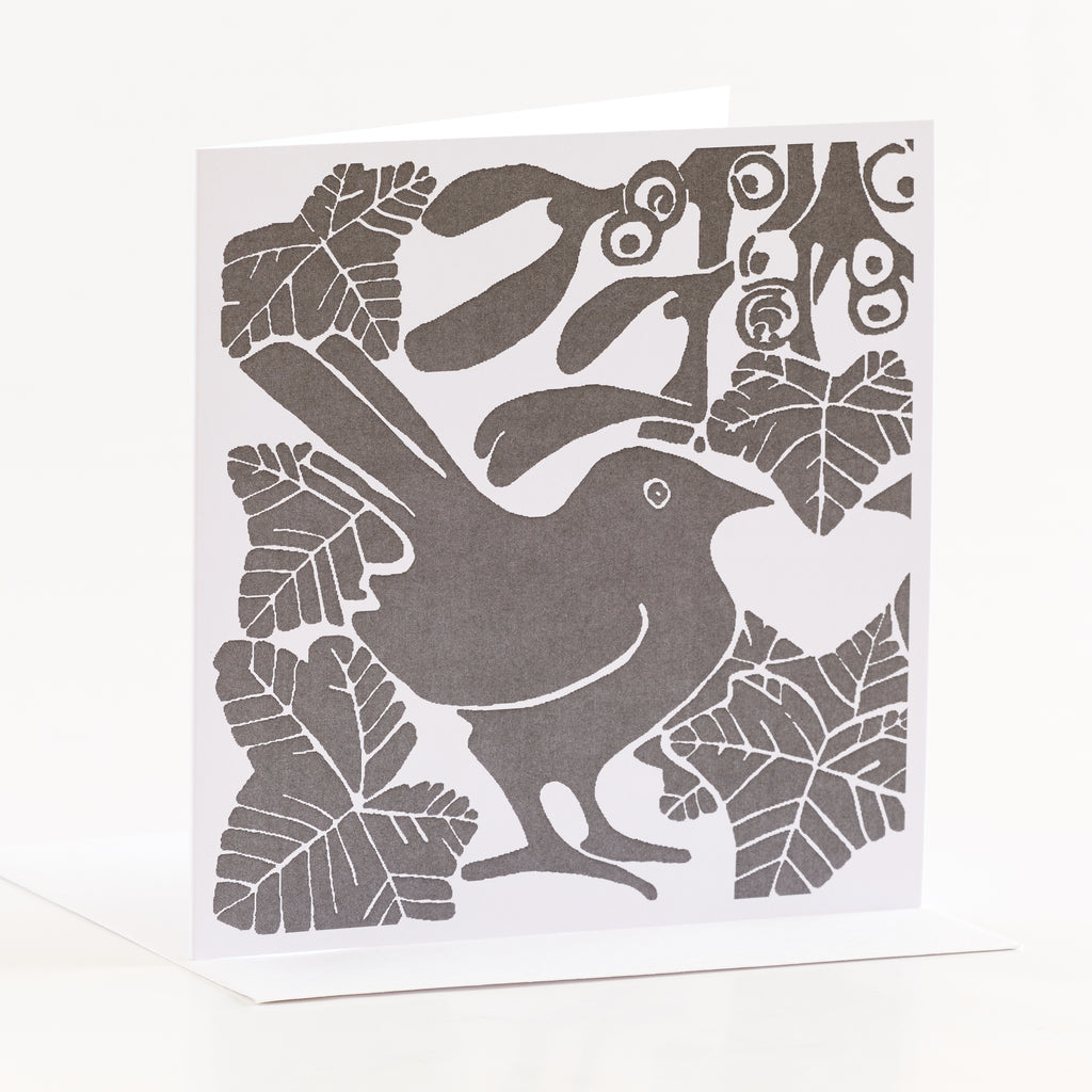 Grey bird and ivy linocut Christmas card by Louise Slater