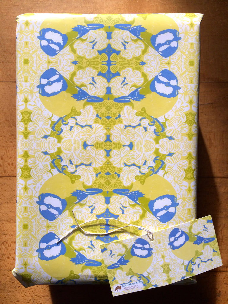 Blue tit gift wrap paper and tag
