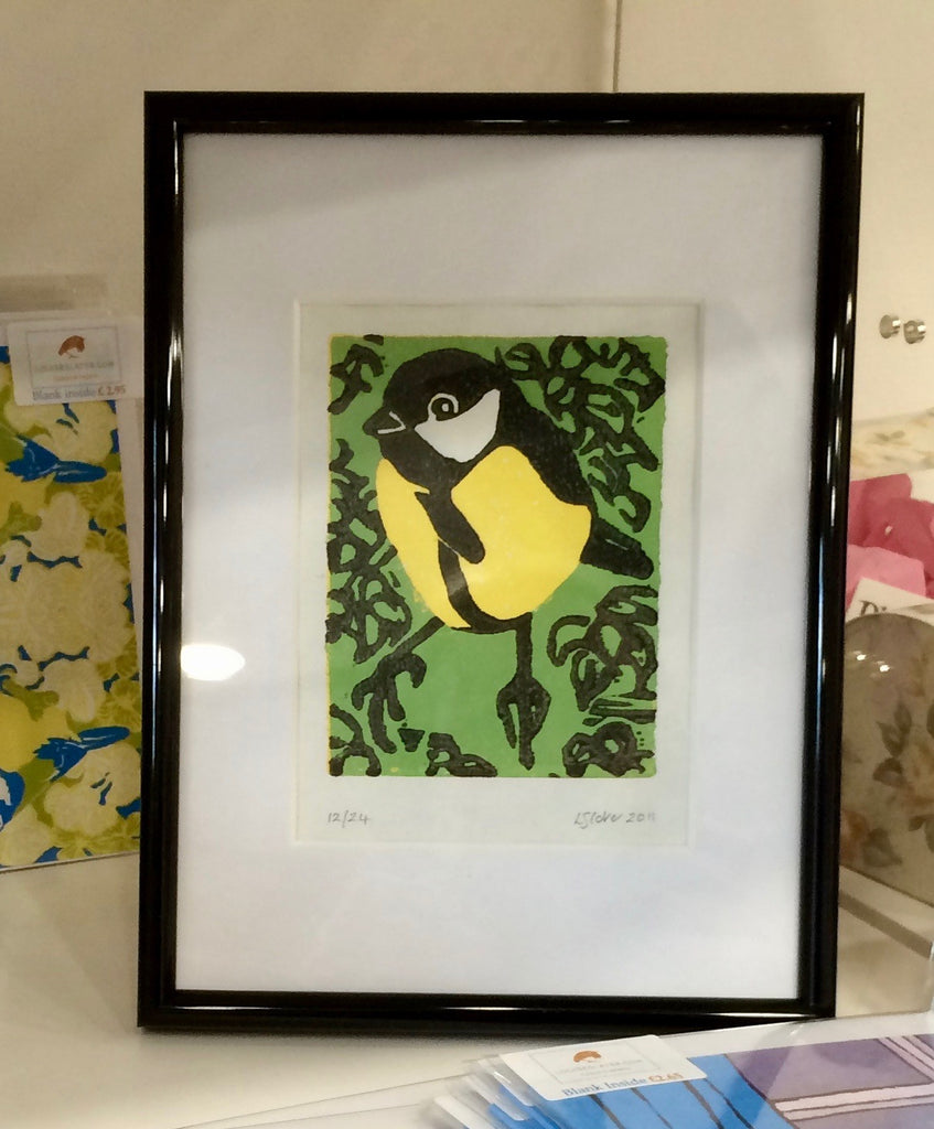 Great tit colour reduction lino print