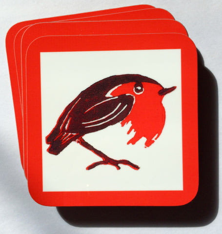 Christmas Robin Coasters - Pk of 4