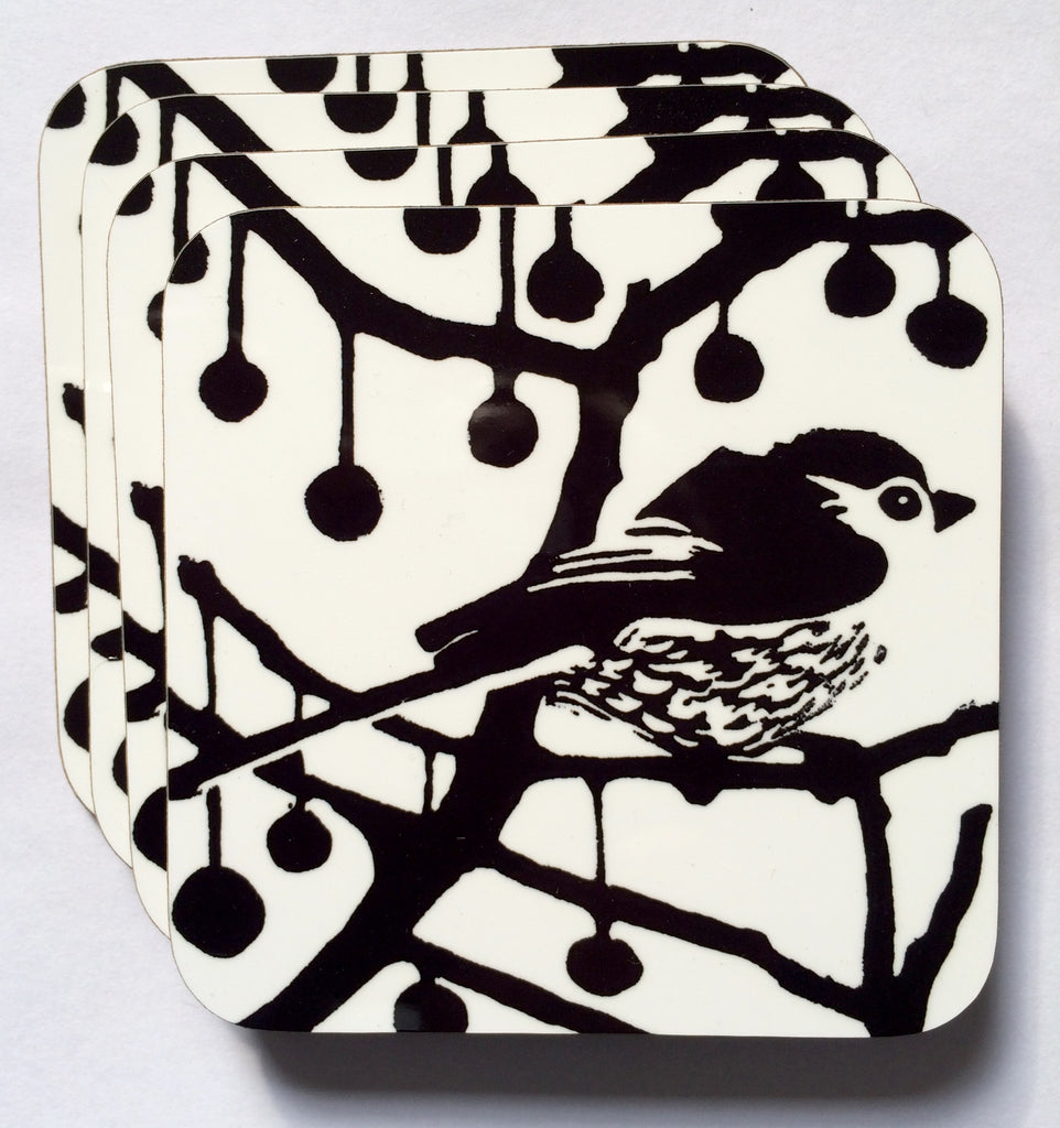 Black & white long tail bird coasters pack of 4